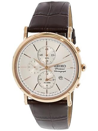 Seiko Mens SNAF82 Rose-Gold Calf Skin Japanese Chronograph Fashion Watch