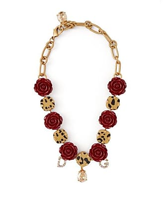 933ab4bd37f Dolce   Gabbana Crystal Embellished Leopard Print And Rose Choker - Womens  - Red