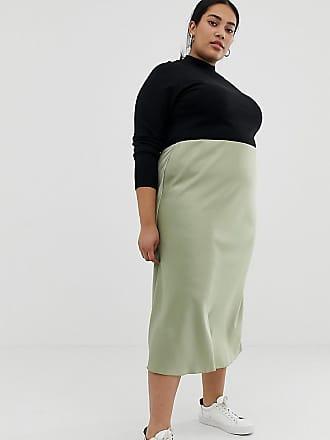 Asos Curve ASOS DESIGN Curve bias cut satin slip midi skirt - Green