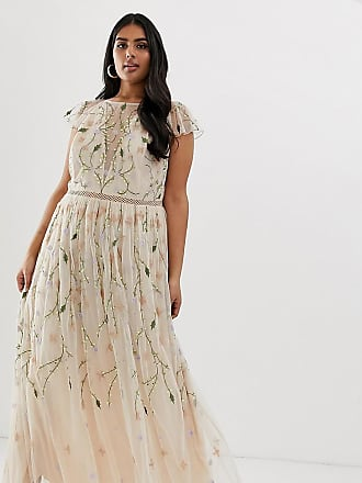 Asos Curve ASOS DESIGN Curve pretty embroidered floral and sequin mesh maxi dress-Multi