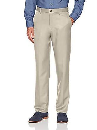 Amazon Essentials Mens Expandable Waist Classic-Fit Flat-Front Dress Pants, Stone, 29W x 34L