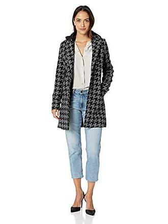 Yoki Womens Single Breast Houndstooth Long Wool Jacket, Black/Grey, XL