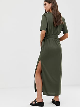 70583ca85e1 Asos Tall ASOS DESIGN Tall soft touch belted maxi dress - Green