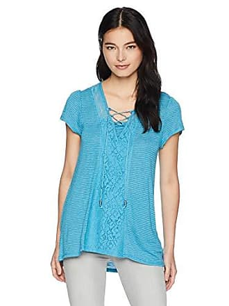 Oneworld Womens Petite Size Short Sleeve Striped Lace Up Neck Top, Teacup PS
