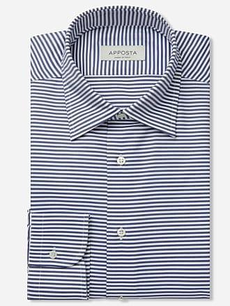 Apposta Camicia righe blu 100% puro cotone oxford doppio ritorto, collo stile button down con bottoni nascosti