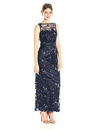 984f4275442 Tahari by ASL Womens Embroidered Lace Column Gown