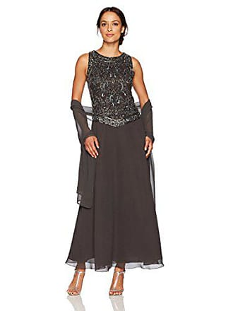 J Kara Womens Petite Long Beaded V Trim Detail Dress with Scarf, Slate/MERC/Gun, 8P
