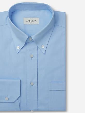 Apposta Camicia tinta unita azzurro 100% puro cotone oxford doppio ritorto supima, collo stile button down