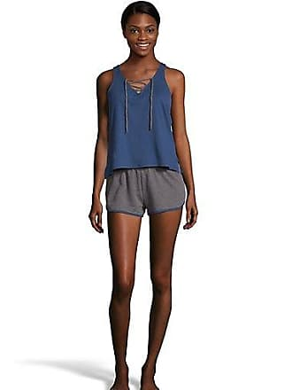 One Hanes Place Pillow Talk Weekend Warrior Tie Up Tank & Shorts Set Blue Depth/Charcoal Heather Gray XL