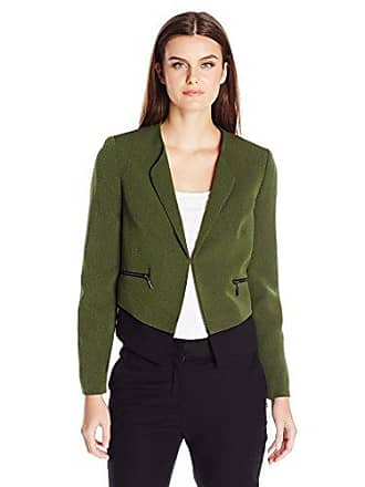 Kasper Womens Cross Dye Stretch Crepe Zipper Detail Jacket, Fern/Black 12