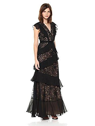 Bcbgmaxazria BCBGMax Azria Womens Valerya Knit Button-Detailed Ruffle Gown, Black, 6