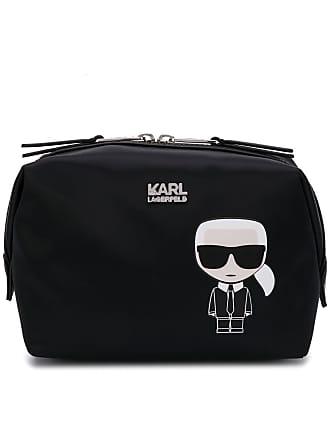 Karl Lagerfeld logo print make-up bag - Preto