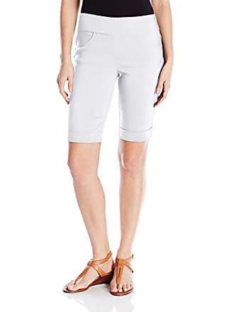 Ruby Rd. Womens Petite Pull On Solid Super Stretch Solar Millennium Tech Cuffed Short, White, 4P