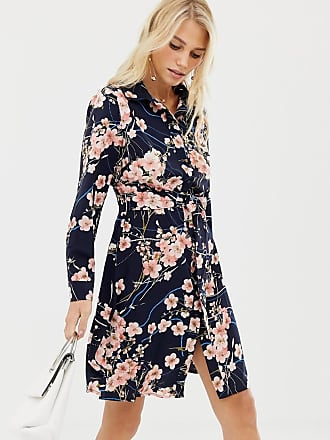 Liquorish blossom floral print shirt dress - Navy