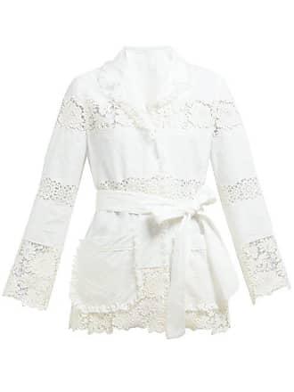 Dolce & Gabbana Lace Panelled Pyjama Cotton Blend Blouse - Womens - White