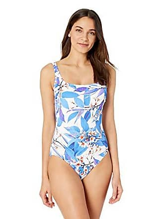 234123e961b Gottex Womens Extra Coverage Textured Square Neck One Piece Swimsuit,  Sakura Multi/Blue,