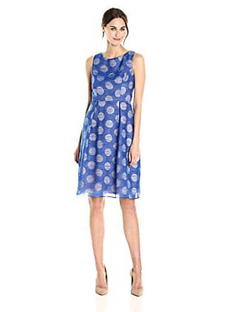 Adrianna Papell Womens Polka Dot Fit and Flare Dress, Cobalt/Blush, 6