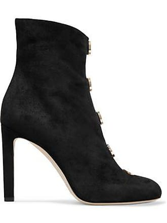 d0d4f09fa38d Jimmy Choo London Jimmy Choo Woman Button-detailed Suede Ankle Boots Black  Size 35.5
