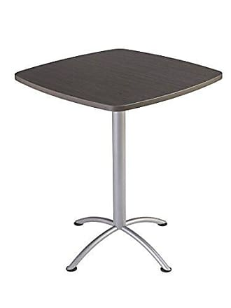 Iceberg 69754 iLand Meeting/Conferencing Table, Edgeband, 36 Square, 42 Height, Gray Walnut, Silver Base