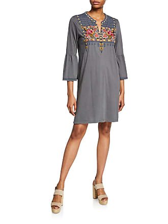 Johnny Was Axton Flare-Sleeve Embroidered Tunic Dress