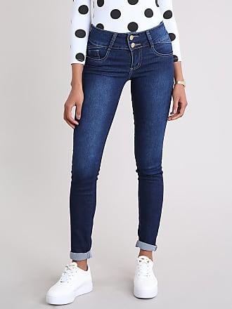 Sawary Calça Jeans Feminina Super Skinny Sawary Azul Escuro