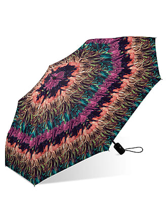 Nicole Miller Mini Auto Open/Close Umbrella - Feather Print