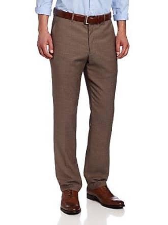 Perry Ellis Mens Portfolio Slim Fit Linen Blend Herringbone, Desert Taupe, 34/30