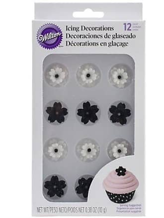 Wilton 710-2219 Layered Flowers Icing Decoration, Black/White, 12/Pack