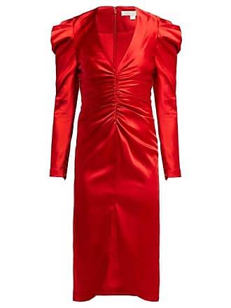 Jonathan Simkhai Puff Sleeve Ruched Satin Midi Dress - Womens - Red
