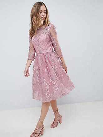 d4f7557aa1 Chi Chi London Premium Embroidered Long Sleeve Midi Dress - Pink