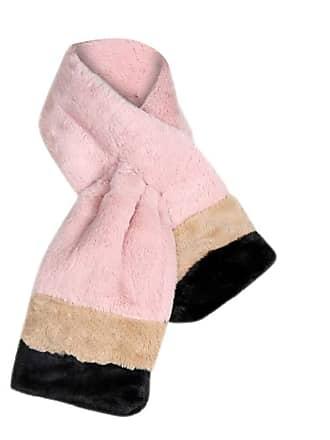 7ca3ea8df Lazzboy Scarves Women Faux Fur Fluffy Striped Winter Warm Thick Scarf Pink- Scarf