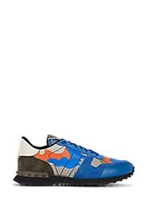 Valentino Mens Rockrunner Leather & Suede Sneakers - Blue Size 11 M