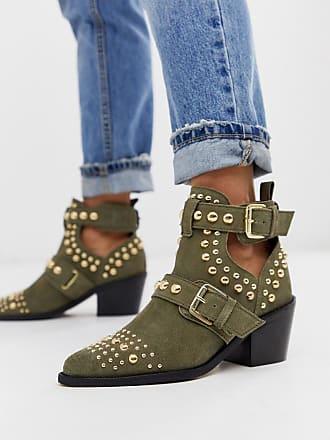 SYBIL Black Studded Block Heel Ankle Boots by KURT GEIGER