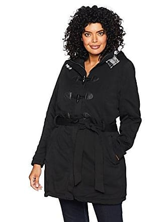 Yoki Womens Plus Size Sherpa Lined Toggle Fleece Jacket with Belt, Black 1X