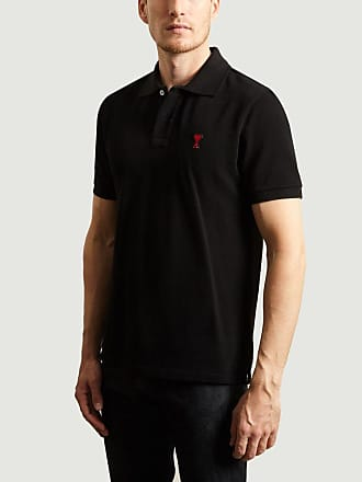 Ami Schwarzes herzförmiges Polo-Baumwollhemd - Size S | cotton | black - Black/Black