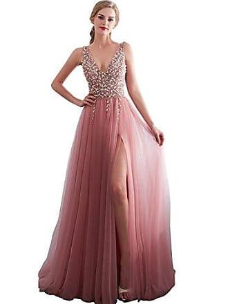87f0a894d69840 Clearbridal Damen V-Ausschnitt Abendkleid Ballkleid Partykleid Lang  Maxikleid Glitzer Elegant mit Beineschlitz SQS30651 Gr
