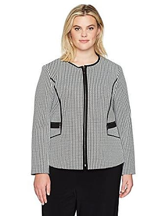 Kasper Womens Plus Size Knit Houndstooth Zipper Front Jacket, Black/White 24W