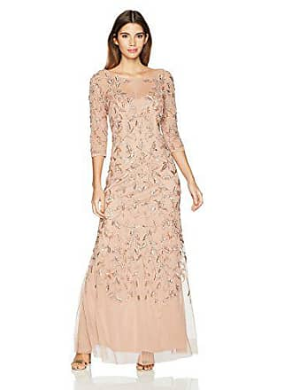 Adrianna Papell Womens Petite Elbow Sleeve Dress Gown with Floral Scroll Beading, Rosegold, 2P