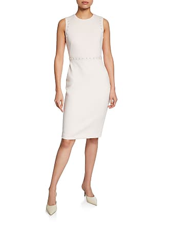 Iconic American Designer Pencil Skirt Dress with Pearlescent Trim Details