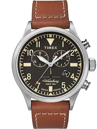 Timex Watch Mens Waterbury Traditional Chronograph 42MM Leather Strap Stainless Steel/brown/black Item Tw2P84300Vq