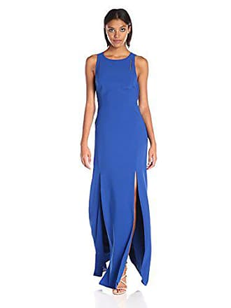 Halston Heritage Womens Sleeveless High Neck Dress with Back Cut Out, Royal Blue 10