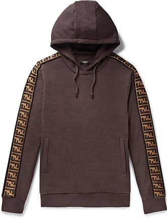 Fendi Logo-trimmed Cotton, Wool, Silk And Cashmere-blend Hoodie - Brown