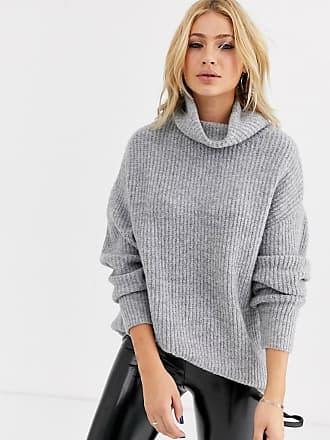 Bershka Lang geschnittener Oversize-Pullover mit Rollkragen in Grau