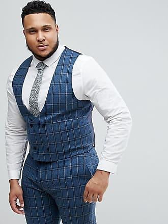 Asos Chaleco de traje ajustado con cuadros en mezcla de lana en azul  degradado de ASOS 49d27584dbe9
