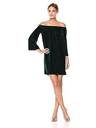 a073b1f9bb3 Donna Morgan Womens Off Shoulder Velvet Shift Dress, Viridian Green, 14