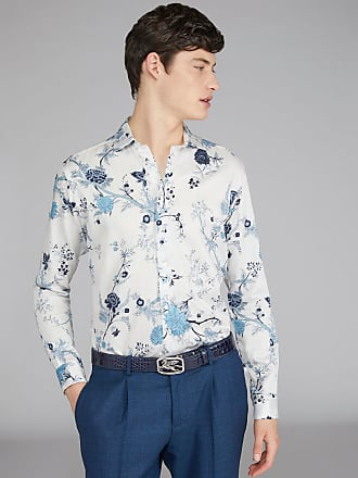 Etro Baumwollhemd Mit Blumenprint, Herren, Weiß, Größe 40