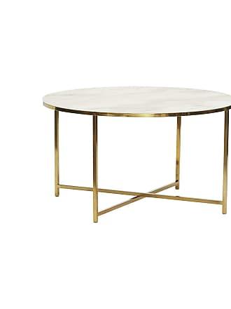 Hübsch Runt soffbord vit marmorlook/ guld, hubsch