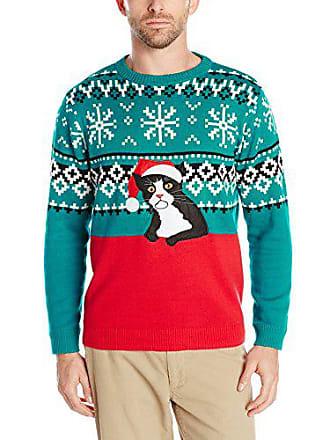 Alex Stevens Mens Fairisle Kitty Ugly Christmas Sweater, Red Combo, Small