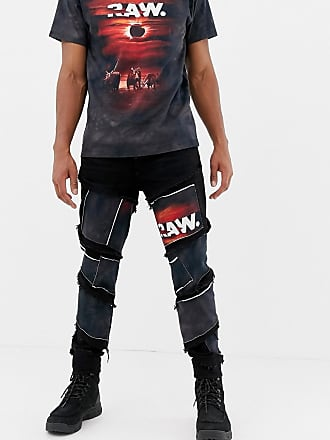 G-Star x Jaden Smith spiral eclipse patches 3d slim jeans - Blue