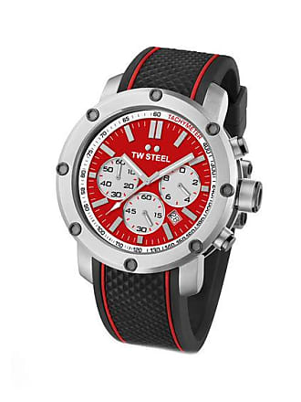Zales Mens TW Steel Grandeur Tech Chronograph Rubber Strap Watch with Red Dial (Model: Ts1)
